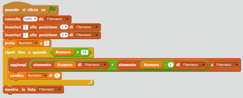 Fibonacci con Scratch